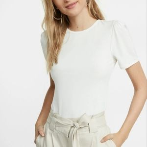 Express Short Puff Sleeve Tee In Ivory
